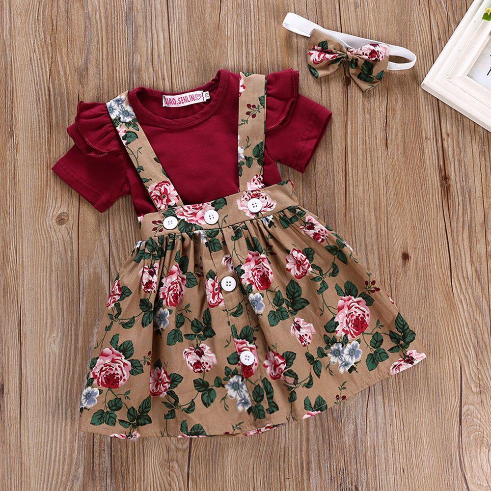 Headband Outfit Clothes Set Suspender Plaid Skirt 3PCS Newborn Baby Girls Dress Christmas Long Sleeve Romper