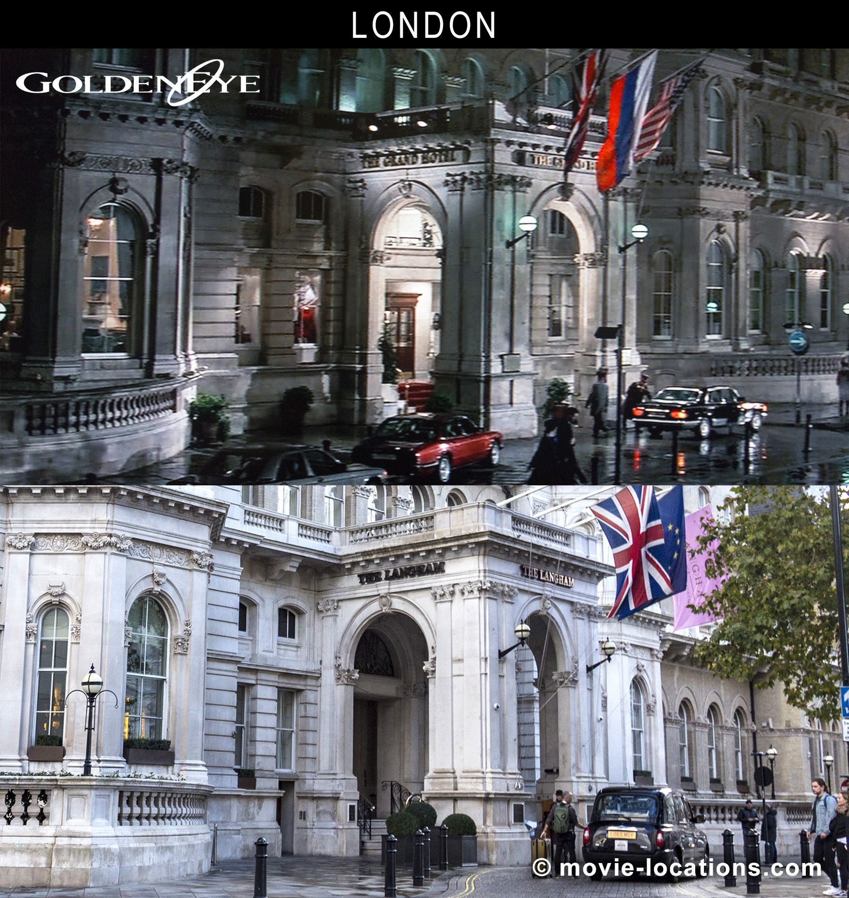 The Langham, 1C Portland Place, Marylebone, London W1 ● Despite those international flags, the 'Grand Hotel Europe' in 'St Petersburg' is the #Langham #London on Portland Place W1, at the top of #RegentStreet. If the camera were to turn 180°, you be looking at the imposing frontage of Broadcasting House, home of the BBC. 🎬 #Goldeneye #JamesBond #FilmLocation