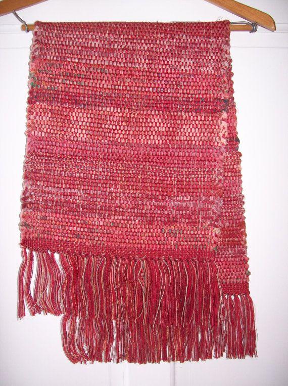 Table Runner, Handwoven , Rag Type, Apple Red , Linen, Cotton, Rayon