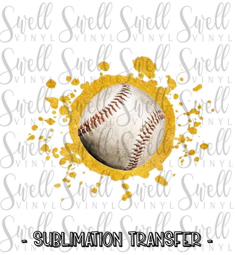 Sublimation Transfer Gold Baseball Splat Ready To Press Etsy Sublime Transfer Heat Press Transfers