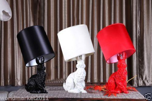 New-Modern-Black-Rabbit-Table-Lamp-Resin-Cloth-Lighting-Desk-Lamp-Night-Lights
