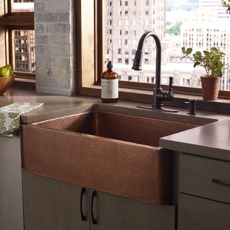 THOMPSON TRADERS LUCCA ANTIQUE COPPER KITCHEN SINK The Lucca Boasts  Seamless Construction In A Single Bowl