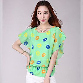 E-Shop  2014 Summer Lips Print Bat Sleeve Loose Fit Chiffon Shirt (Green)