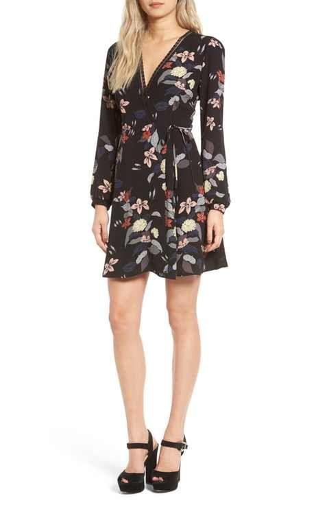 ASTR Floral Print Wrap Dress