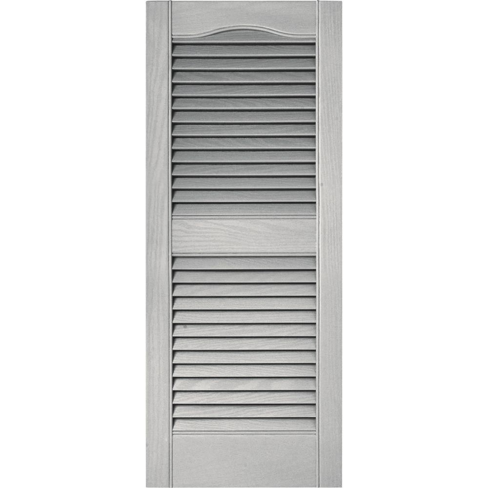 Builders Edge 15 In X 36 In Louvered Vinyl Exterior Shutters Pair In 030 Paintable 010140036030 The Home Depot Shutters Exterior Vinyl Exterior Vinyl Shutters