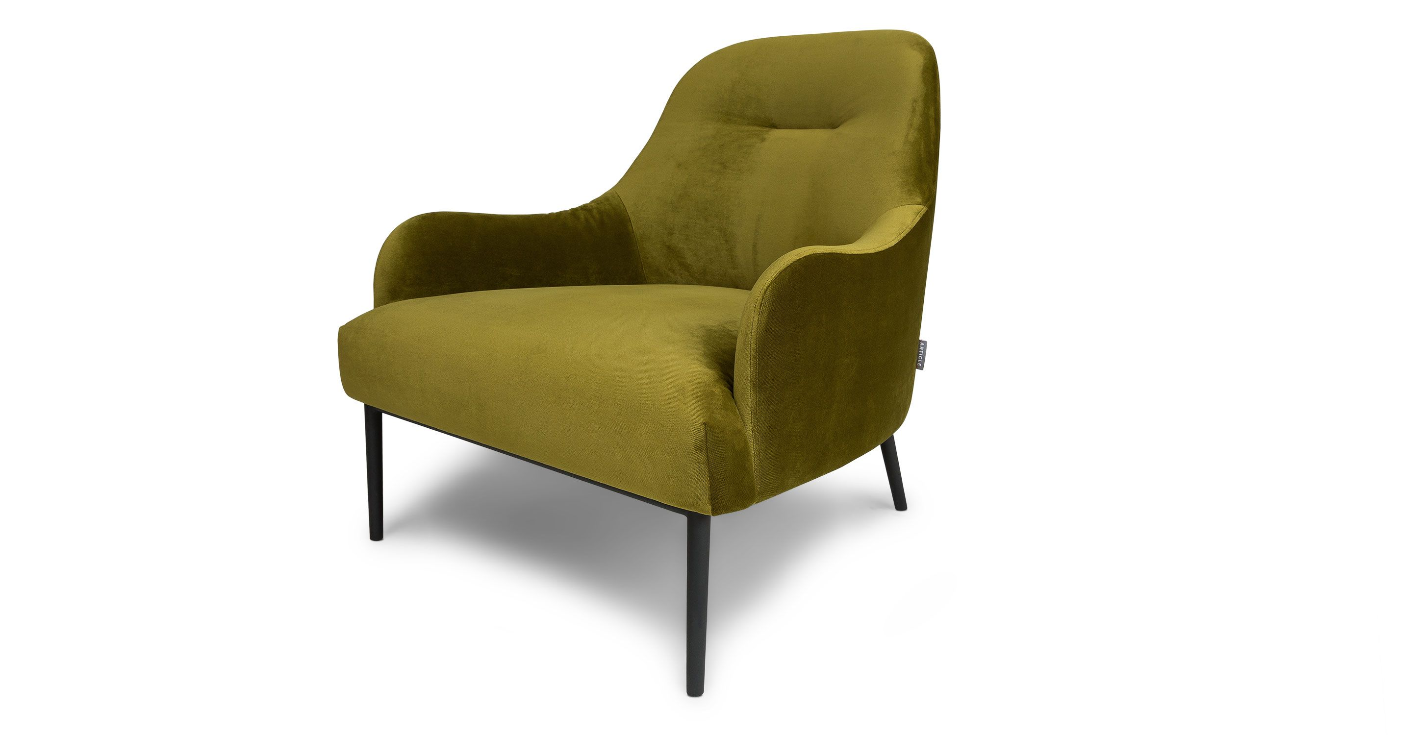 green velvet armchair black metal legs article embrace modern