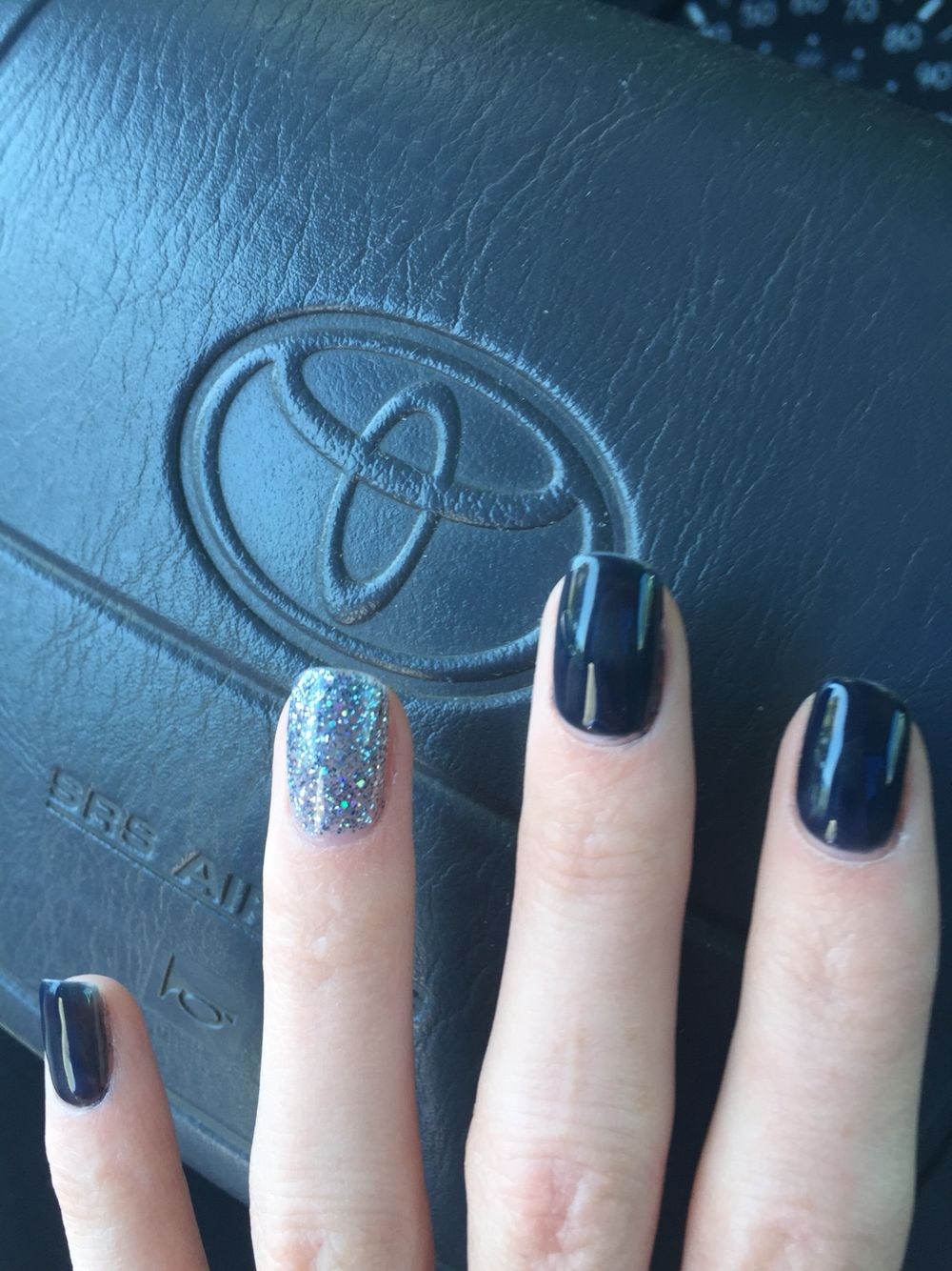 Gelish Midnight Cover DND Black Diamond Star gel on natural nails ...