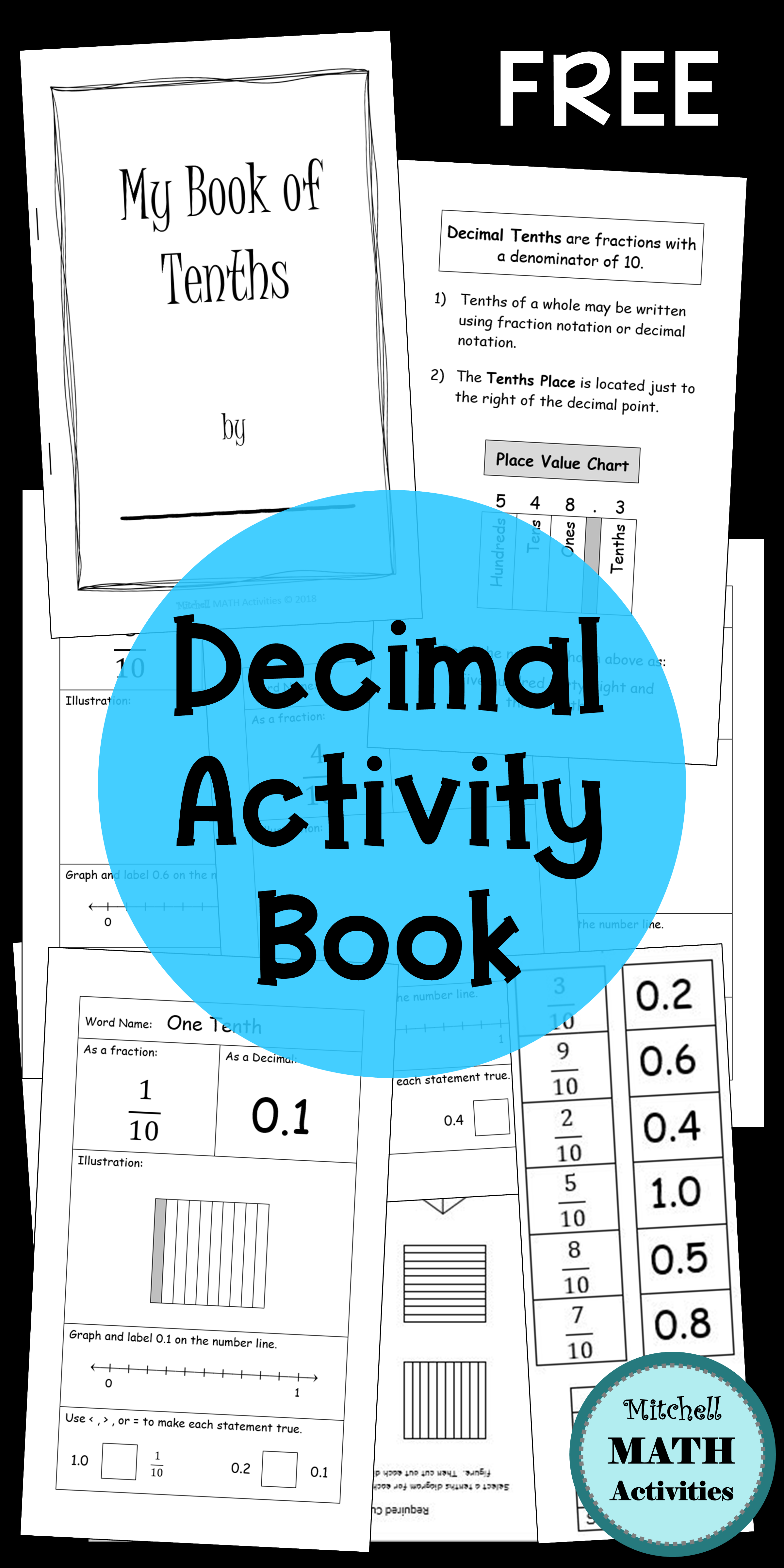 Free Hands On Mini Book For Decimals And Decimal Grid