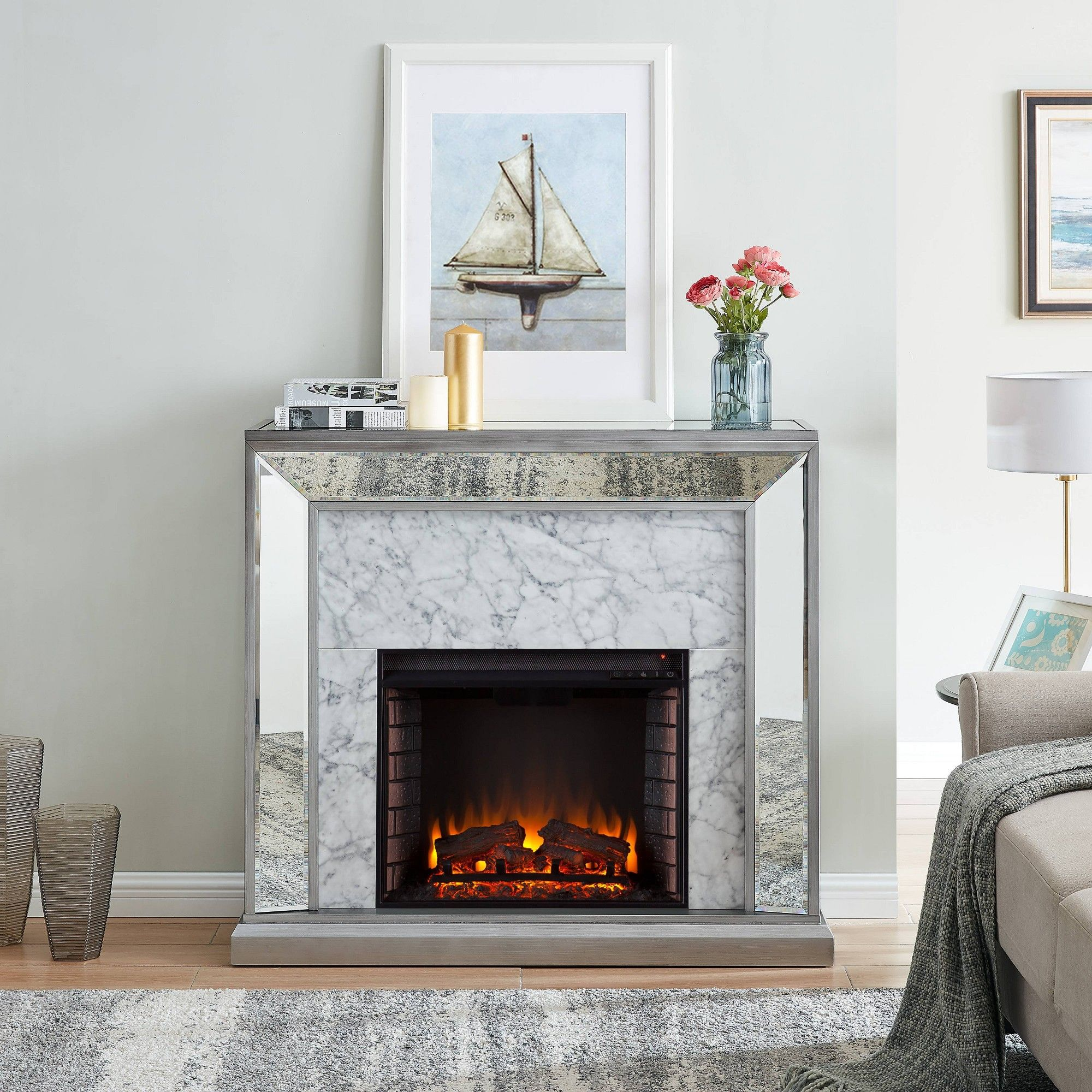 Tynchel Mirrored Faux Marble Fireplace Antique Silver Aiden Lane