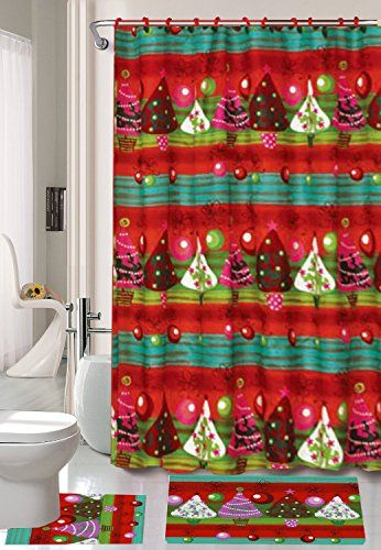 Season S Greetings 15 Piece Shower Curtain Bath Set 1 Rug Contour Mat 12 Matching Fabric Rings Christmas Tree