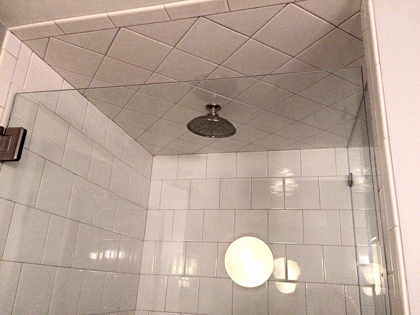Custom 4x4 Subway Tile Walls With Diamond Subway Pattern On Ceiling