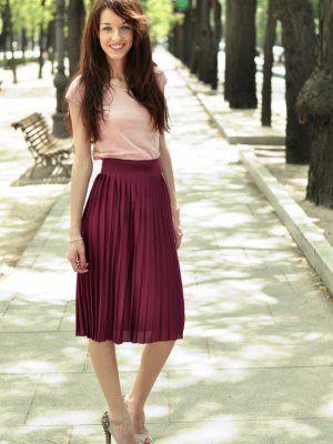 ca75f4912 corazondemaniqui Outfit primavera falda plisada falda rosa camiseta ...