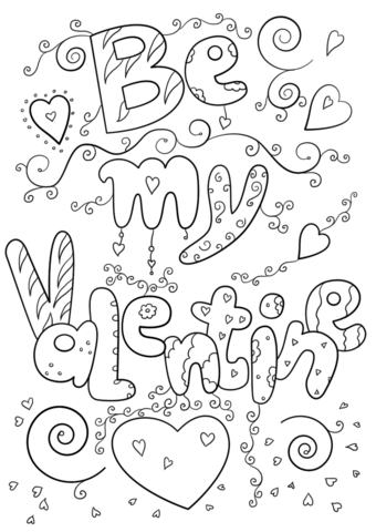 Be My Valentine Coloring Page From