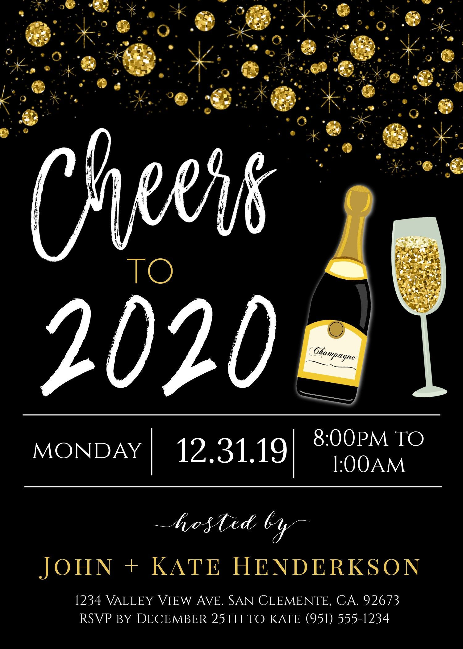 Cheers To 2020 Invite New Year S Eve Party Invitation Black And Gold Printable Template Gold Black New Year Invite Party Downloadable New Years Eve Party New Years Eve Newyear
