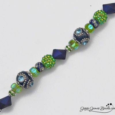 Blue and Lime beads in Seattle Football colors