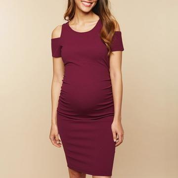 67e072e191 Maternity Cold Shoulder Dress