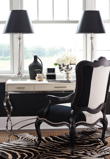 Hamptons Designer Desk Showhouse   Black And White Chair With A Traditional  Desk