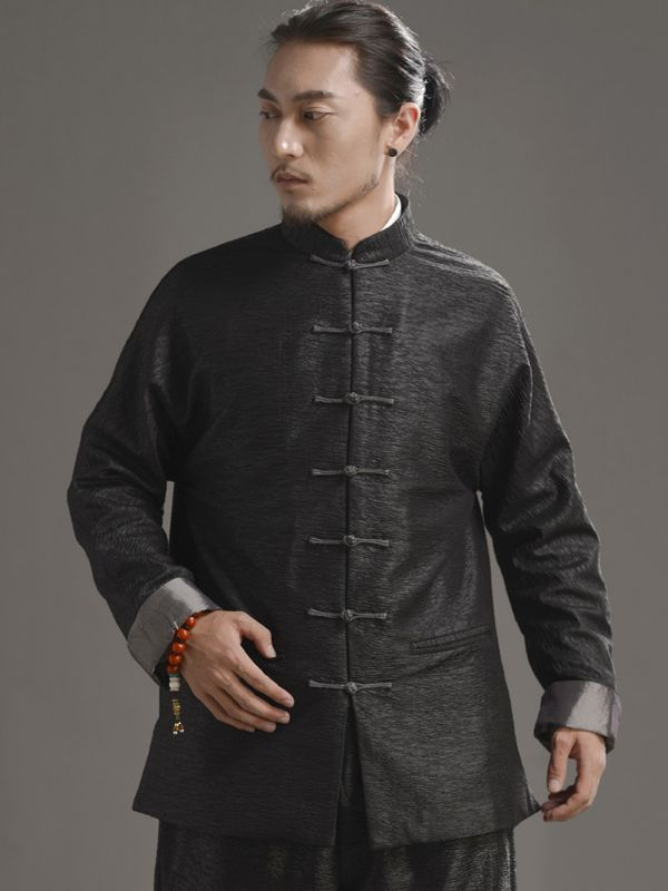 6e886faff0250 Shinning Black Chinese Men's Jacket Made of Cotton Color:Black Long ...