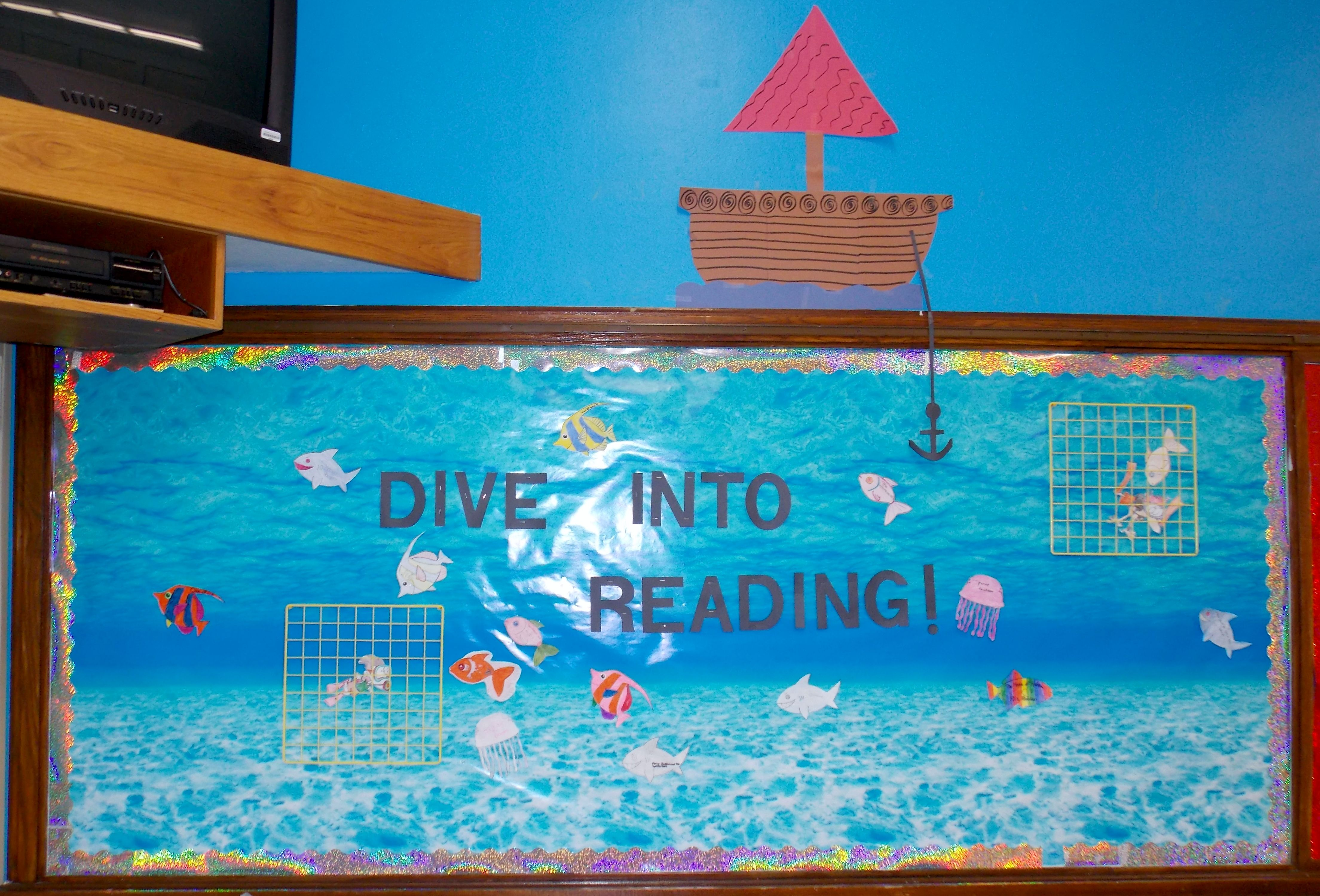 Dive Into Reading Bulletin Board Kids Can Color Fish Etc
