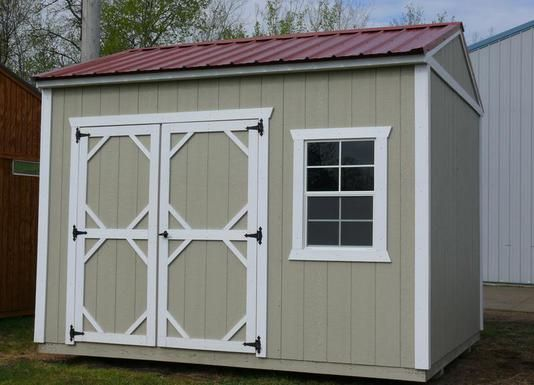 Grandview Buildings 10x12 Garden Shed Red Steel Roof Smartside Siding Color Wicker Trim White We Build Custom Sh Custom Sheds Shed Portable Sheds