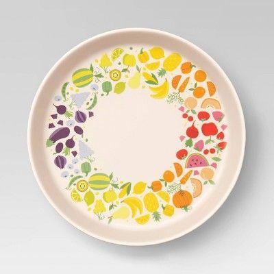7 3 Bamboo And Melamine Kids Fruit Rainbow Dinner Plate Pillowfort In 2020 Fruits For Kids Outdoor Dinnerware Dinner Plates