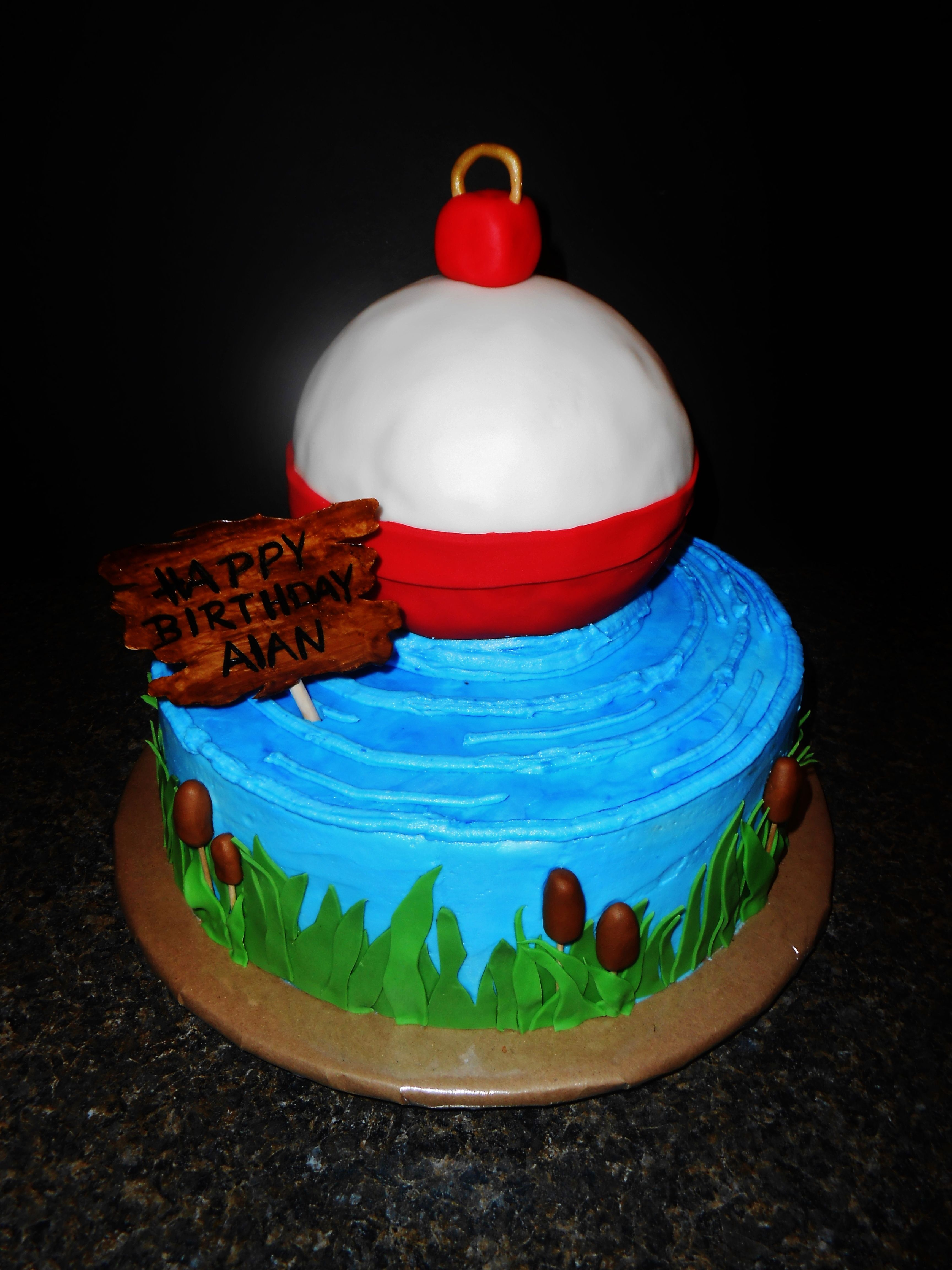 Fishing bobber cake gone fishing birthday pinterest for Fishing themed cakes