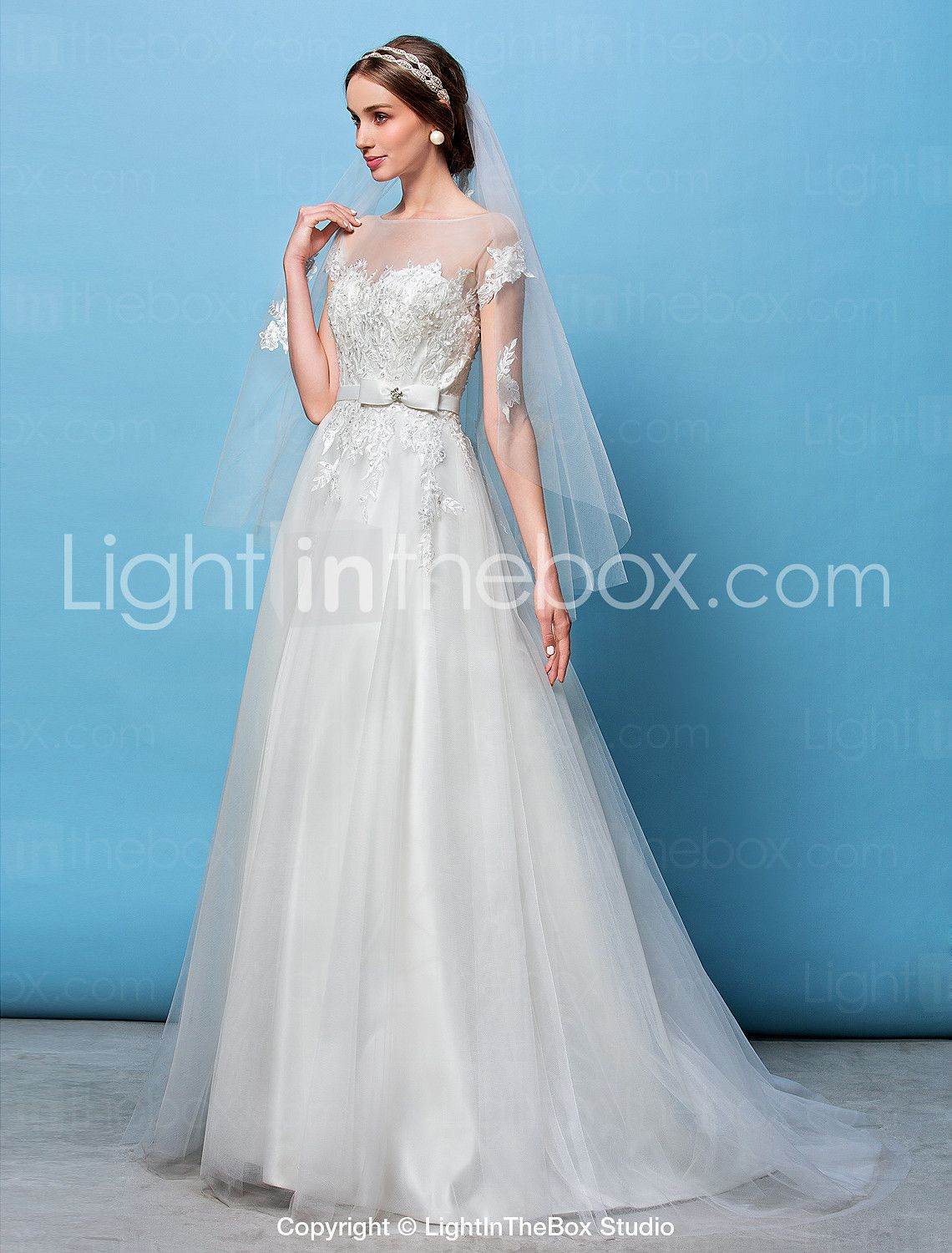 A-line Princess Bateau Sweep / Brush Train Tulle Wedding Dress with ...