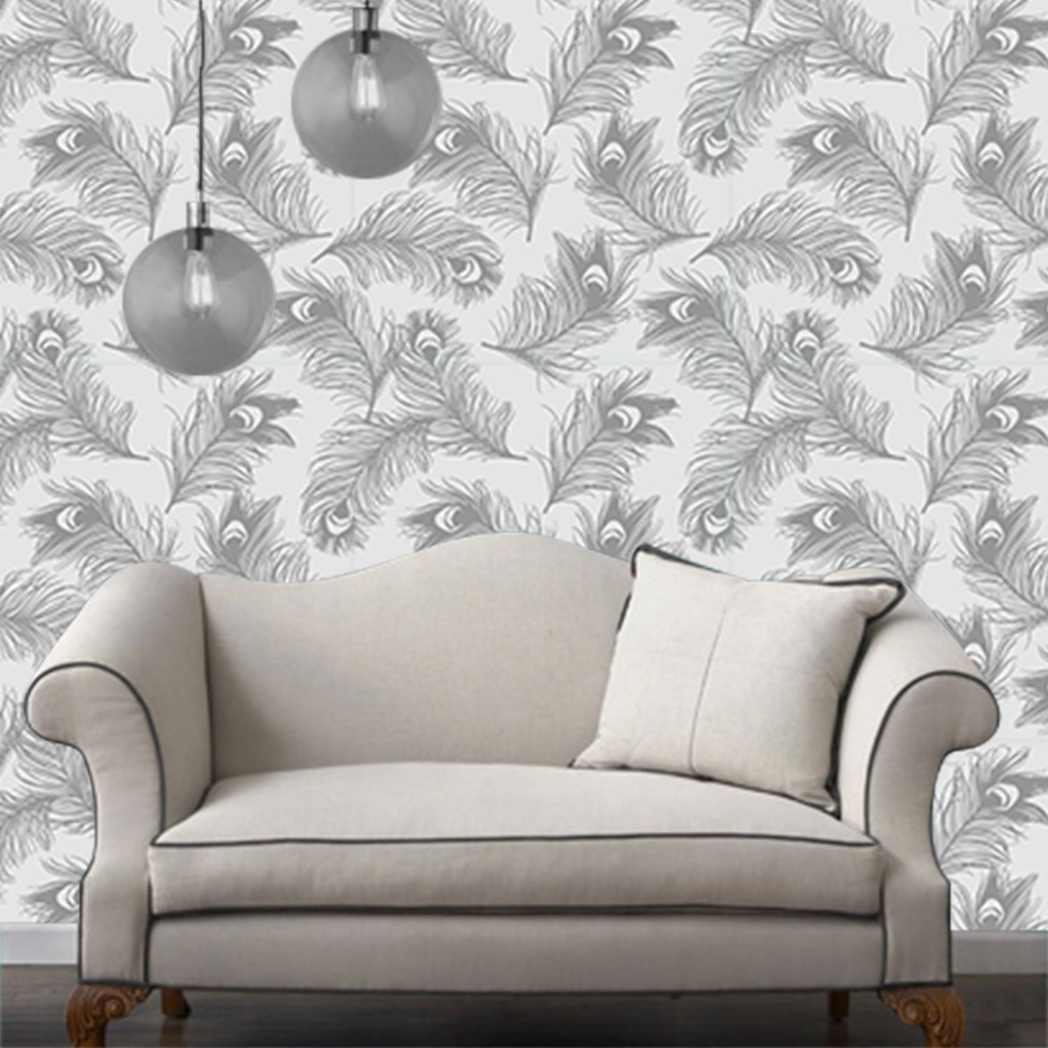 Temporary Wallpaper Feather Metallic Silver Frost
