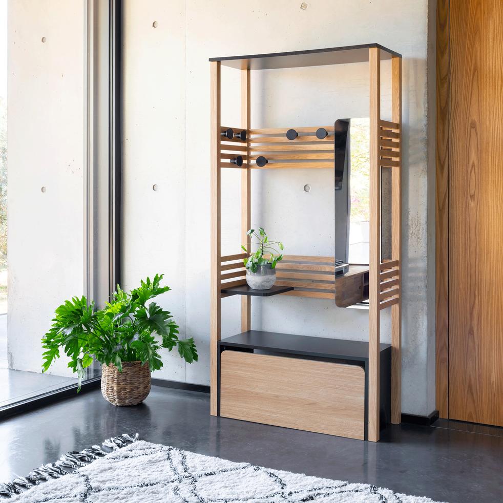 Meuble d'entrée en chêne - ARMAND - meubles à chaussures - alinea en 2020 | Meuble entrée ...