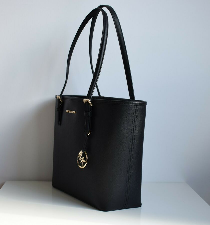 Michael Kors Damen Tasche Jet Set Travel Md Carryall Tote Saffiano Leder Schwarz Ad Ad Tasche Jet Set With Images Carryall Tote Carryall Tote