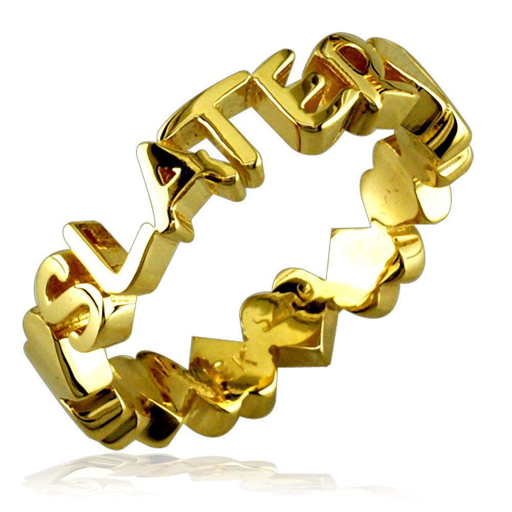 14k Yellow Gold Any Name Stackable Heart Name Ring 44mm Wide