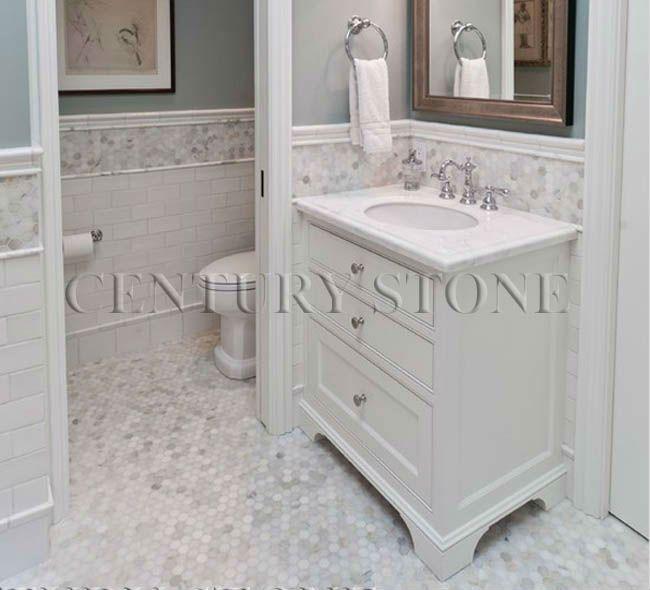 Century Mosaic Cl A Carrara Hexagon Marble Floor Tile