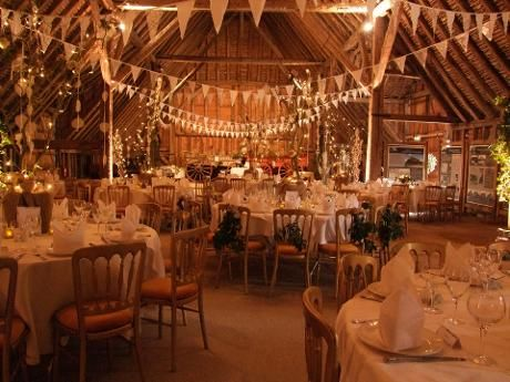 Grange barn decorated for a wedding stuart banks vintage if we were to have a conventional wedding very tempted after seeing this must do bunting in my theme colors either way junglespirit Choice Image