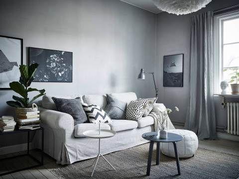 Kompaktes Sofa, graue Wand Home Pinterest Sofa grau, Graue - graue wand wohnzimmer