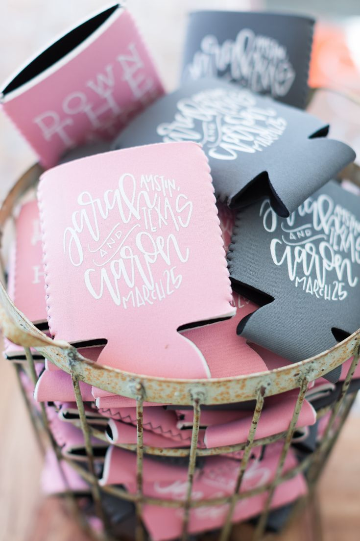 coozies in a metal basket | Can Koozie Wedding Favors | Pinterest ...