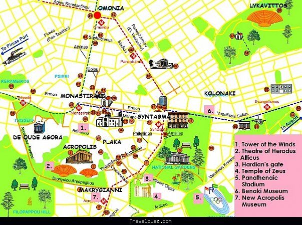 Map of Athens Tourist Travel Holiday Map TravelquazCom