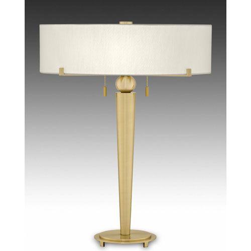 Cartographer Satin Brass Table Lamp W/ Anna Cream Rolled Edge Oval Shade Remington  Lamp Ac