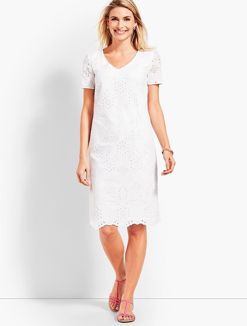 Embroidered Scallop Hem Floral Eyelet Shift Dress Talbots Shift Dress Dresses Fashion [ 1057 x 800 Pixel ]