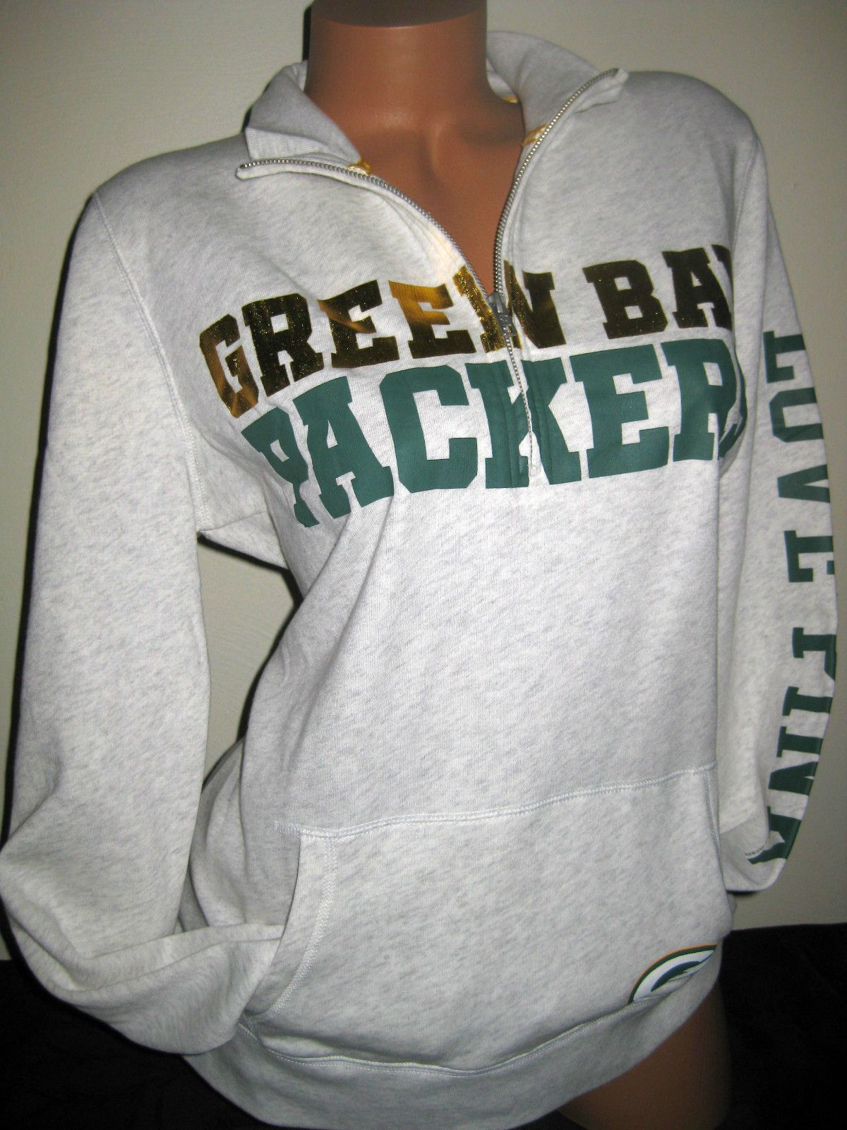 VICTORIA'S SECRET PINK NFL GREEN BAY PACKERS HALF ZIP SWEATSHIRT ...