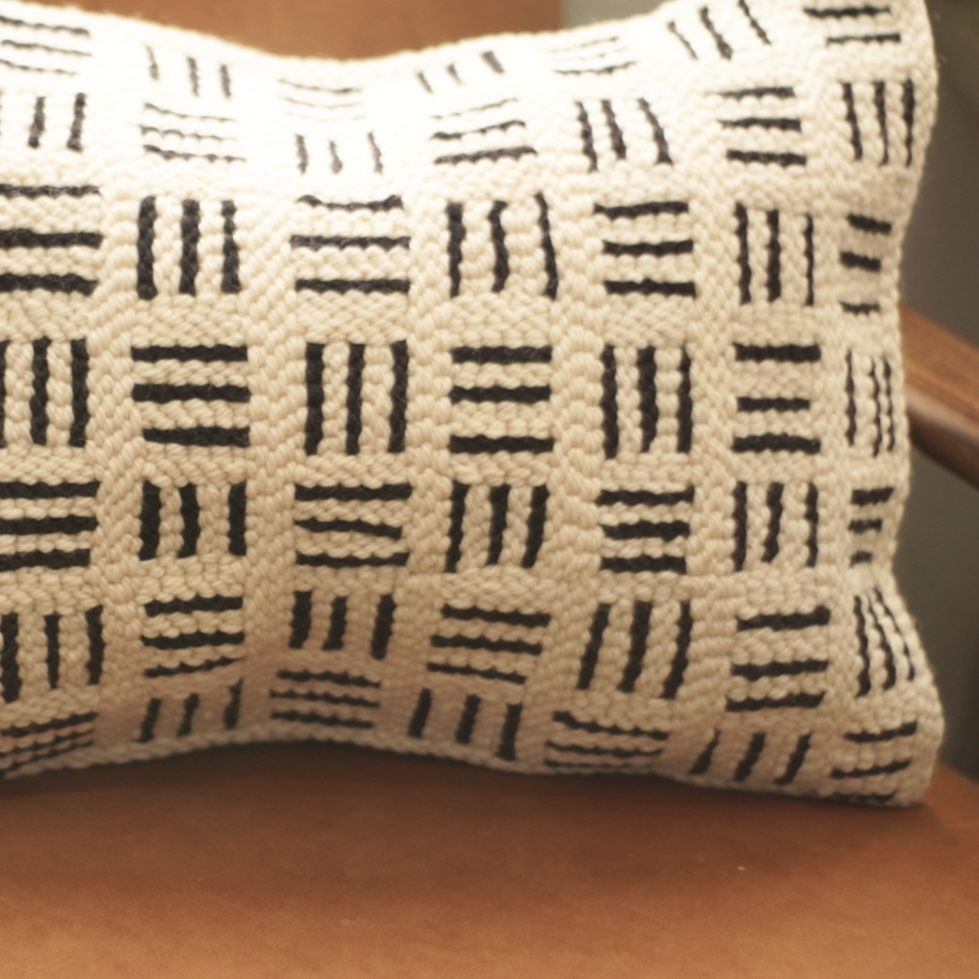 Black and White Geometric Pillow — Punch Color Studio