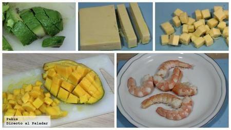 Ensalada aguacate mango y langostinos mmmm