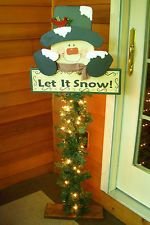 "Primitive Wood Crafts Patterns   HOLIDAY PRIMITIVE WOOD PORCH GREETER-""LET IT SNOW"""