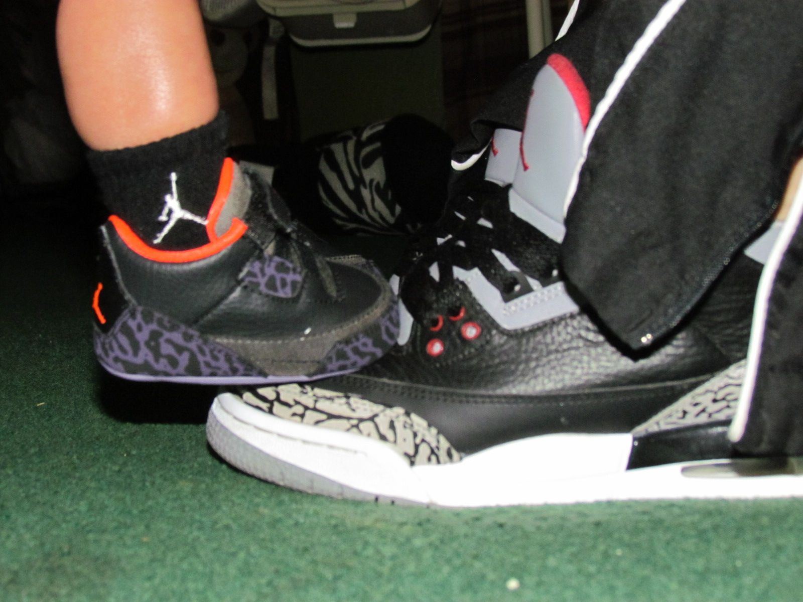69178849aae My son and I matching ! Baby jordans retro 3 black cement 3s, matching  jordans mommys boy!
