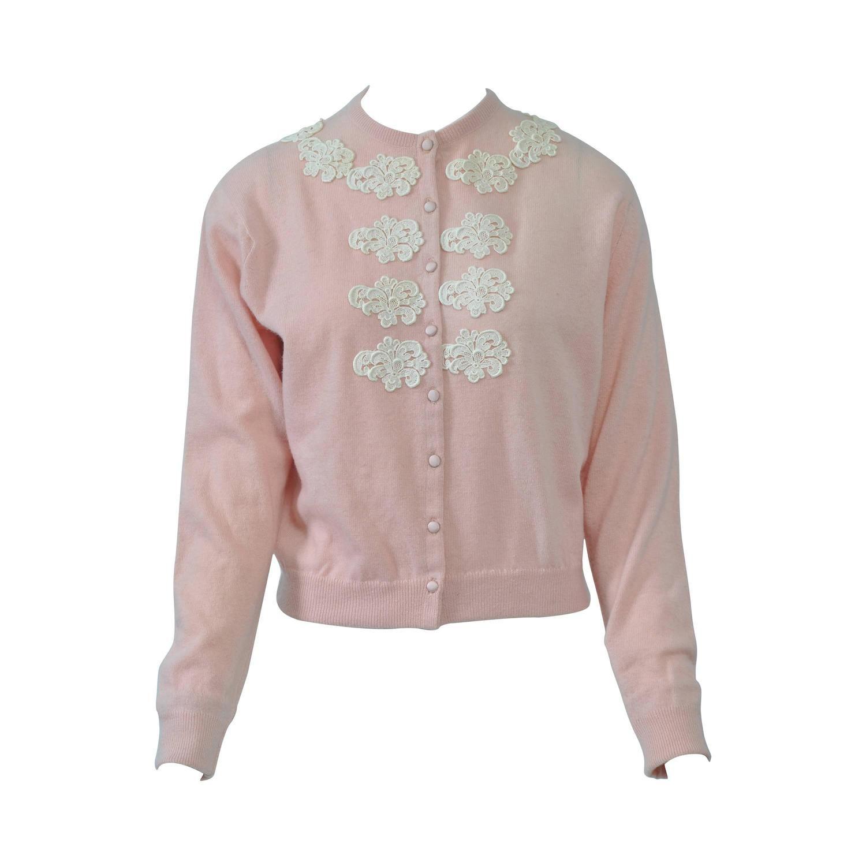 Pink Cashmere Cardigan with Lace Appliqués | Cashmere, Neckline ...