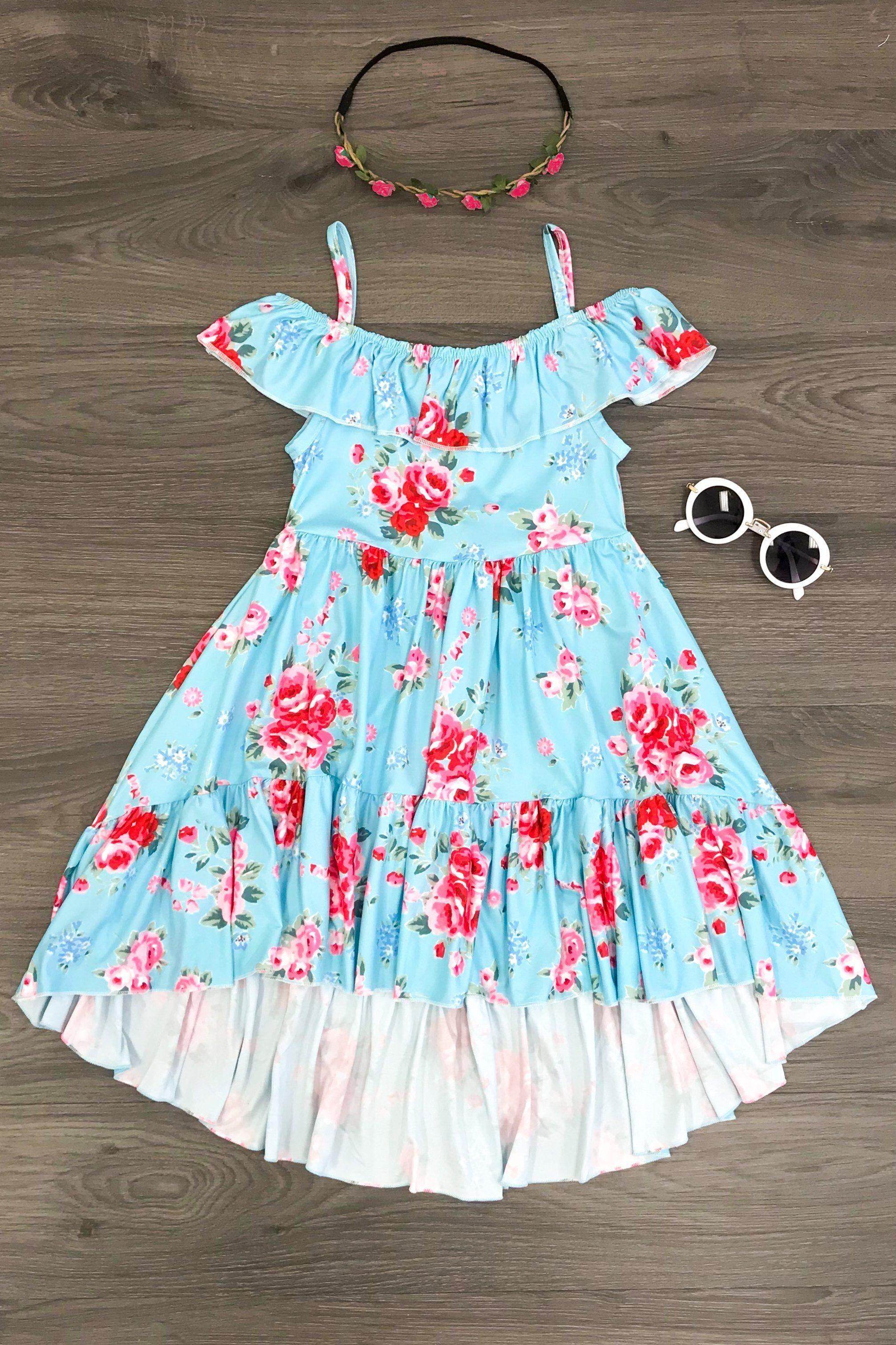 605a44b1ad5 Blue Floral High Low Dress