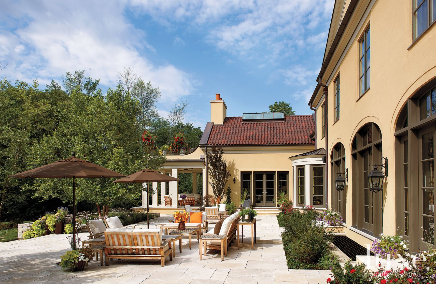 Outdoor Patio Landscape | Patio, Arched windows, Red tiles