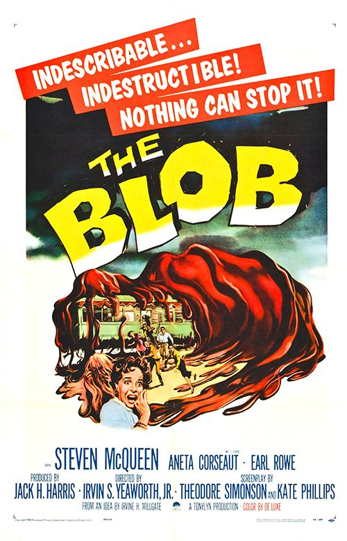 picture relating to Movie Posters Printable named The Blob - Typical Sci-Fi Horror Video clip Poster, clic
