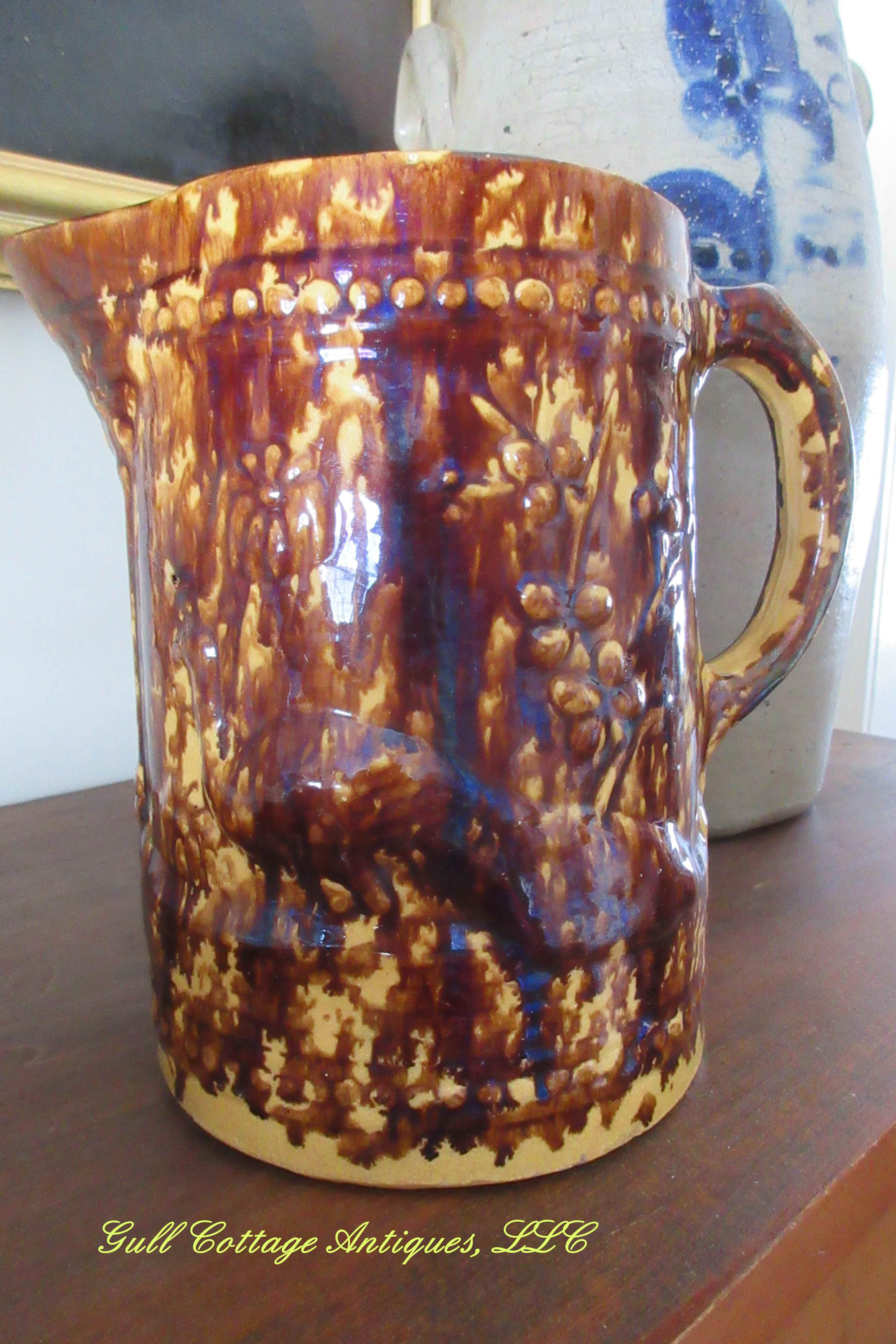 Wonderful Peacock Pattern Pitcher C 1915 25 By Brush Mccoy Pottery In Zanesville Oh Pattern Is Done In Repose Under A Fabu Mccoy Pottery Pottery Stoneware