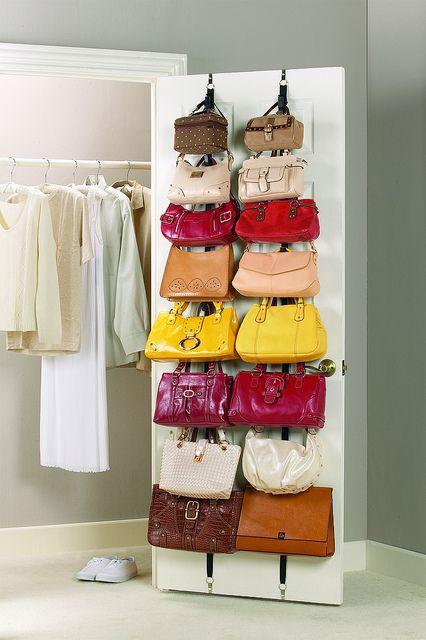 Handbag storage - on the wall or door #bags #closet #organization #storage