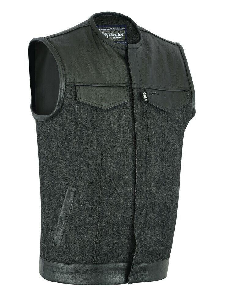 Gilet Homme Denim / Cuir Sans Col DS901 – 4XL   – Products